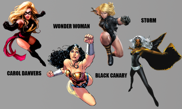 Captain Marvel, Wonder Woman, Black Canary, and Storm