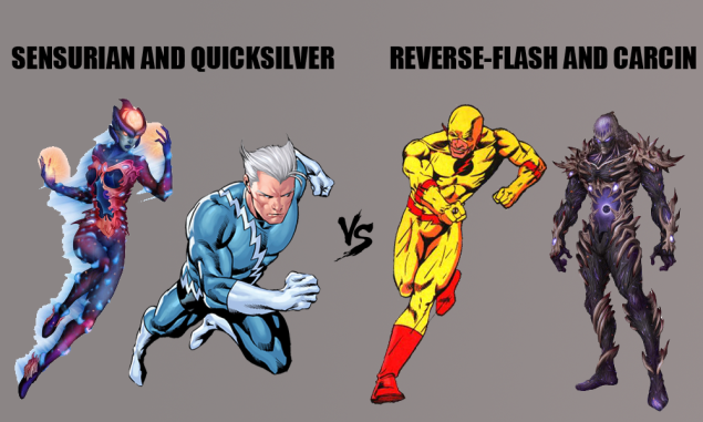 Senurian of the BioWarriors and Quicksilver of the Avengers vs. Reverse-Flash of the Secret Society and Carcin