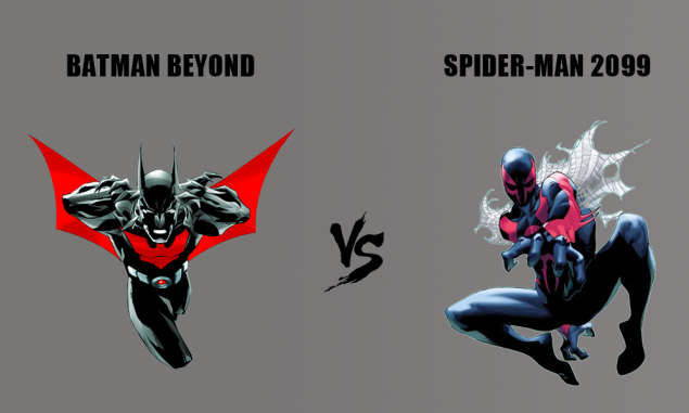 Comic book superheroes Batman Beyond and Spider-Man 2099