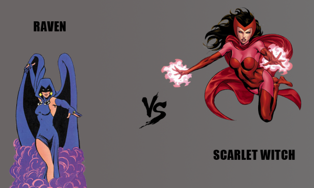 Comic book superhero Raven vs. comic book supervillain Scarlet Witch