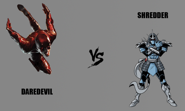 Comic book characters Daredevil and Shredder