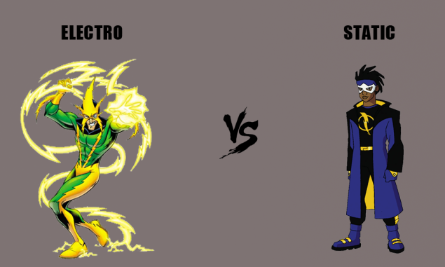 Comic book supervillain Electro vs. comic book hero Static